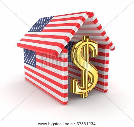 Dollar sign under the roof made of American flags.