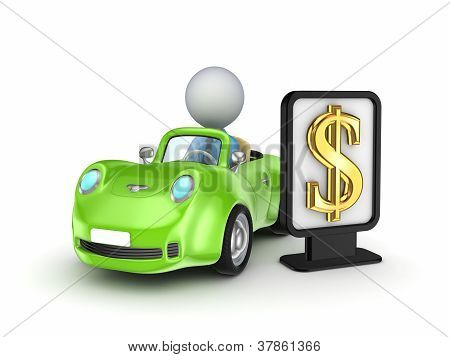 Green car and black lightbox with golden dollar sign.