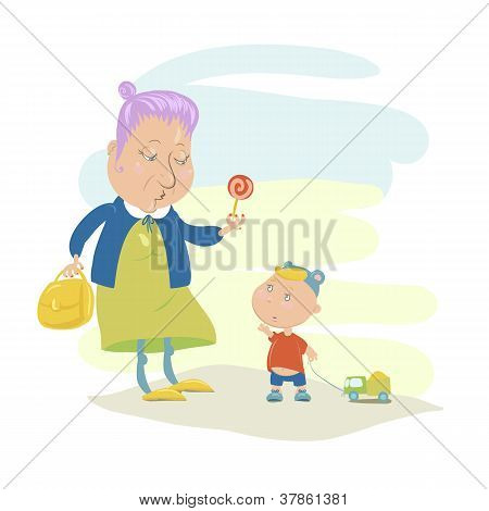 Old Woman Giving Lollypop to a Boy