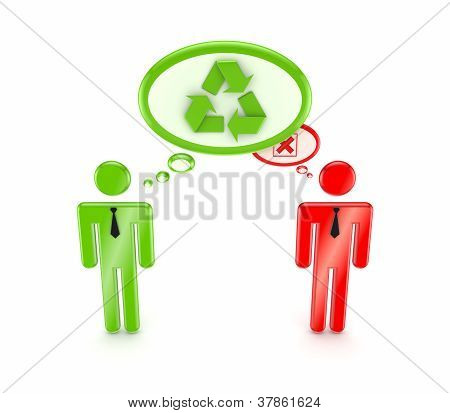 3d small people, green resycle symbol and red cross mark.