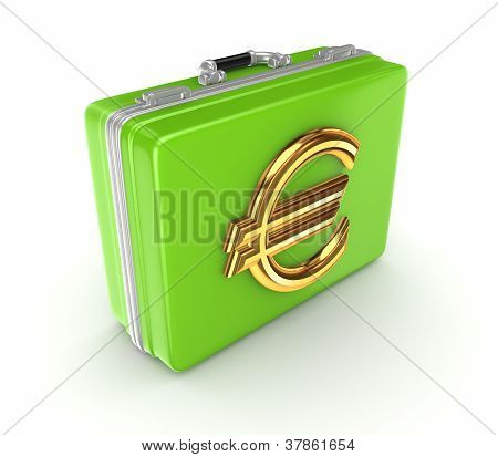 Green suitcase with golden euro sign.