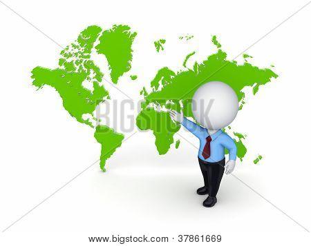 3D pequena pessoa contra o mapa do mundo.
