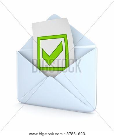 Umschlag mit einem grünen Häkchen versehen.