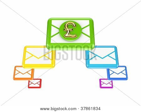Colorful envelopes and golden dollar sign.