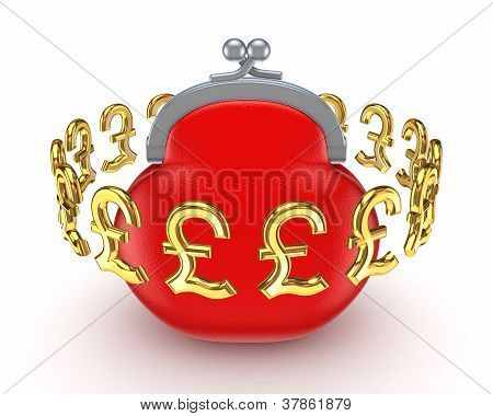 Golden pound sterling signs around red purse.
