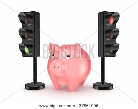 Pink piggy bank around traffic lights.