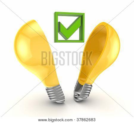 Green tick mark inside yellow bulb.