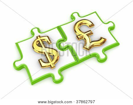 Puzzles with dollar and pound sterling symbols.