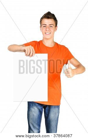 Bright Teenager Boy Showing Thumbs Up Sign While Holding Blank Billboard  Isolated Over White