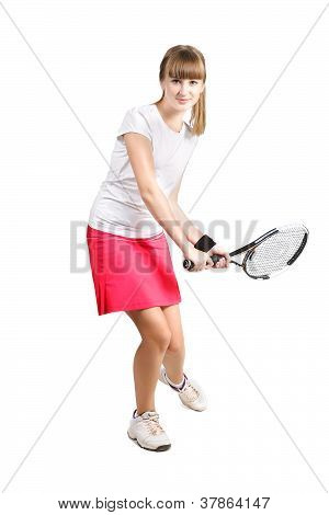 Sporty Teenage  Girl Playing Tennis  With Racket Isolated Over White