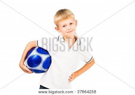 Smiling Schoolboy Holding Blue Soccer Ball Isolated Over White