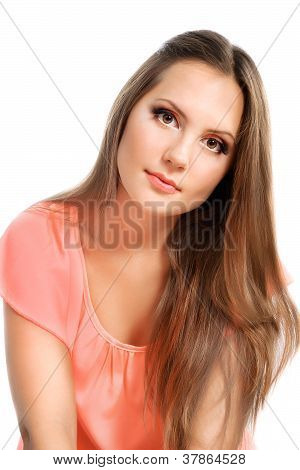 Beautiful Young Pensive Girl With Long Hairs Over White  Background