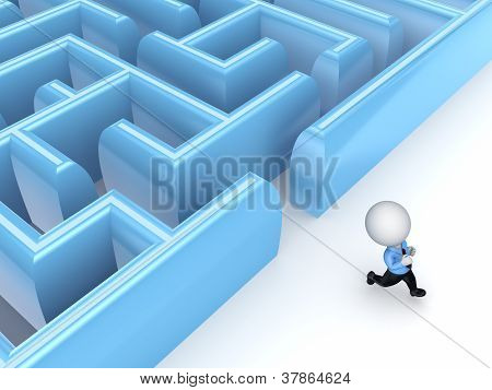 3d small person running from a labyrinth.