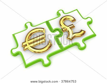 Puzzles with euro and pound sterling symbols.