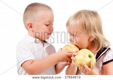 Little Boy Treating A Girl With Green Apples Isolated Over White