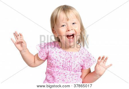 Amazed Little Girl Laugting Ang Singing Expressively Isolated Over White