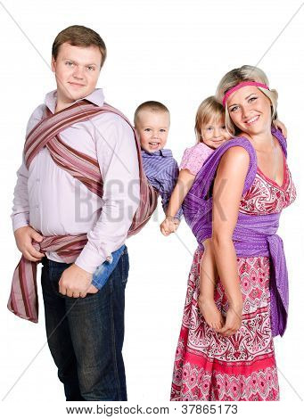 Happy Family With Babies 3-4 Years Old In Slings Isolated On White Background