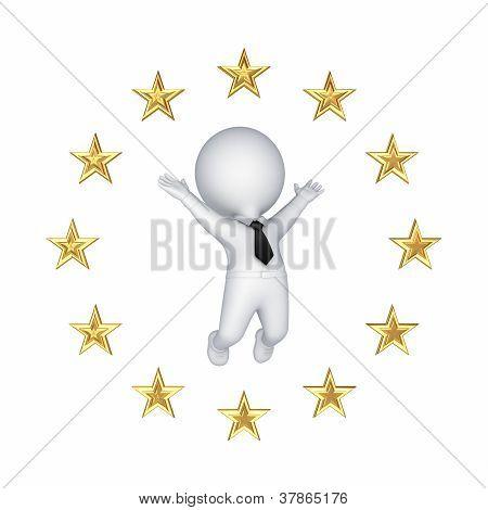europäische Union-Symbol und glücklich 3d kleine Person.