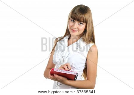 Teen Girl Writing To Notebook  Isolated On White Background