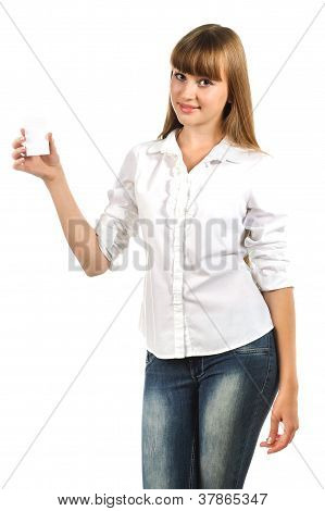 Beautiful Teen Girl Holding White Card Isolated Over White Background