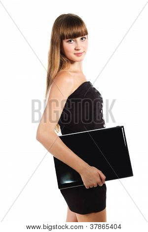 Serious Teenager Girl With Lap Top Isolated On White Background