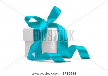 Present Box With Light Blue Ribbon
