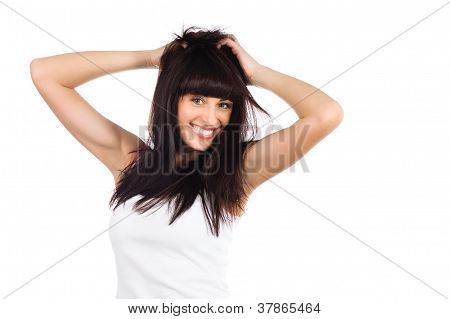 Freedom Or Hair Care Concept. Portrait Of A Woman Enjoying Of Her Tangled Long Hair Isolated On Whit