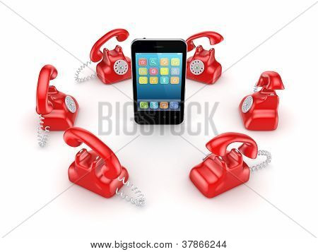 Red vintage telephones around modern mobile phone.