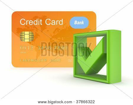 Green tick mark and orange credit card.