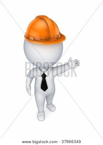 3d small person in an orange helmet.