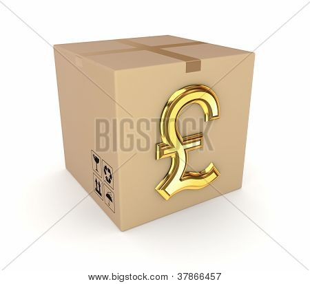 Carton box with golden pound sterling sign.