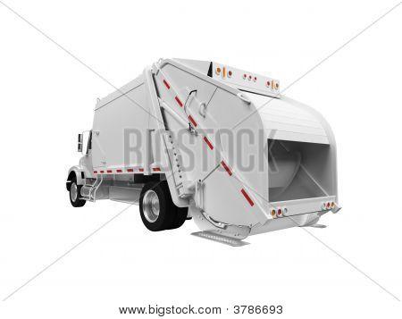 Trash Truck Over White