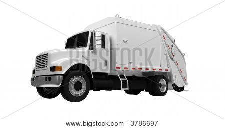 Trash Truck Over White