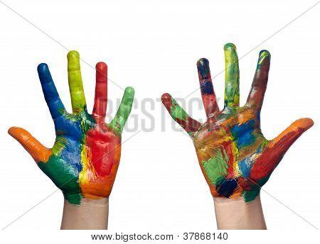 Cor pintada mão de criança artesanato
