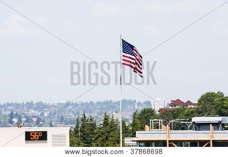 American Flag And Temperature