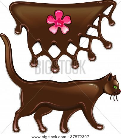 Chocolate marmalade flower decor and cat