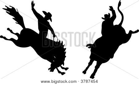 Rodeo Cowboy Silhouettes
