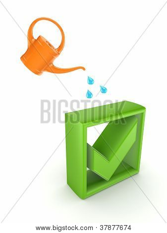 Orange bailer and green tick mark.