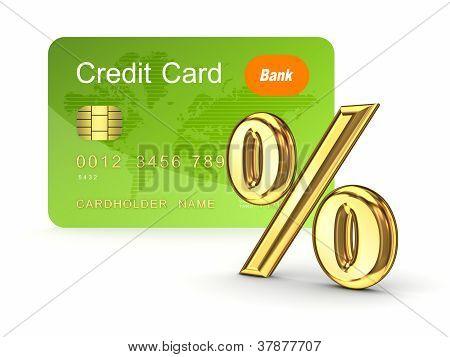 Credit card and percents symbol.