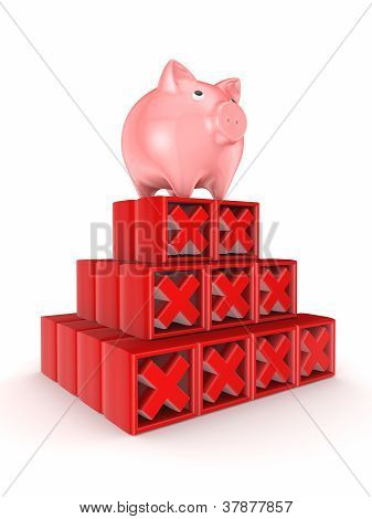 Pink piggy bank on a top of red cross marks.