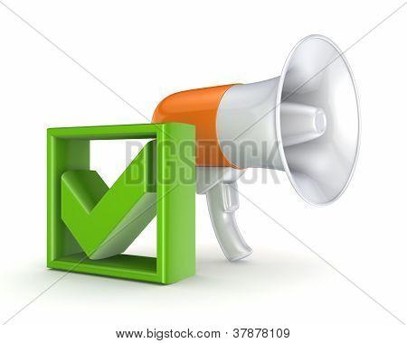 Orange megaphone and green tick mark.
