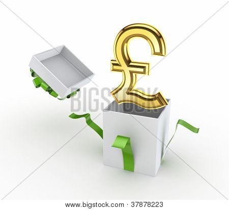 Golden pound sterling sign in a gift box.