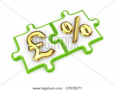 Puzzles with pound sterling and percents symbols.