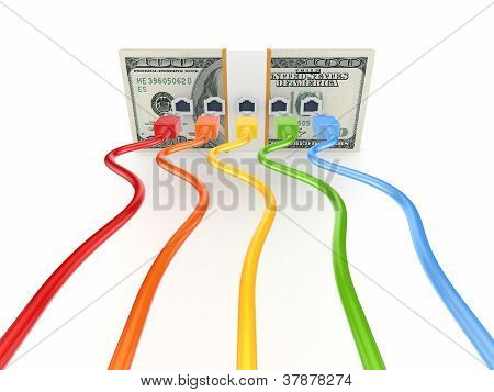 Colorful patchcords connected to pack of dollars.