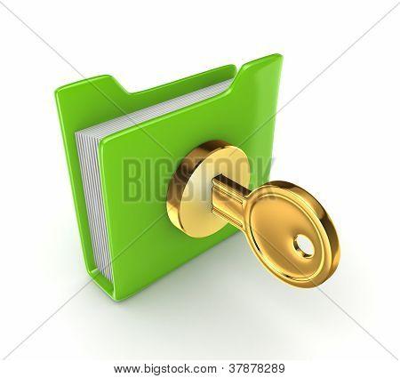 Golden key in a green folder.