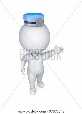 3d small person in a doctor's uniform.