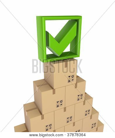 Green tick mark and carton boxes.