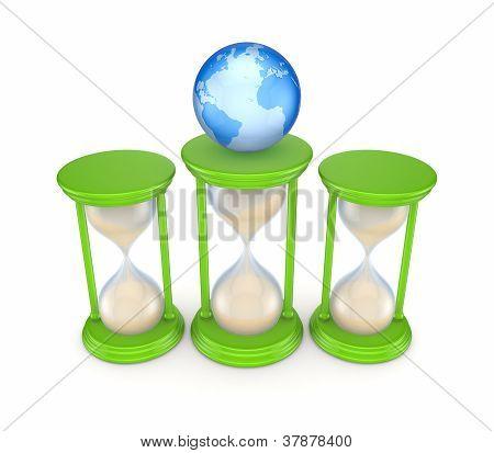 Sand glasses and globe.