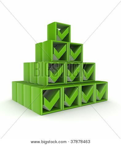 Pyramid made of green tick marks.
