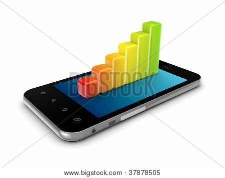 Colorful graph on a modern mobile phone.